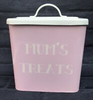 Storage Tin Pink Enamel Caddy Mums Favourite Treats Shabby Chic Cottage Core