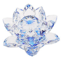 Crystal Figurine Collectibles Lotus Flower Model Wedding Centerpieces Blue