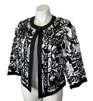 NWT Trenz By Theresa Renz Blazer Jacket M Medium Petite Black White Open Front