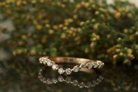 Curved Single Prong 0.45 Ct Diamond Eternity Wedding Band 14k Rose Gold GP Ring