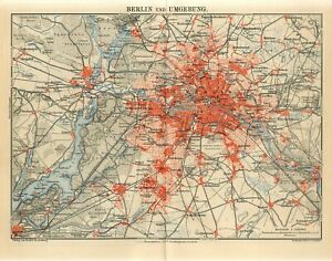 1900s BERLIN CITY and SUBURBS Antique Map