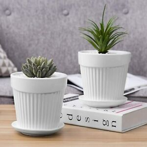 Set of 2, 5-Inch White Ceramic Plant/Flower Planter Pot with Attached Saucer