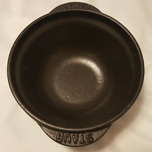 "Staub Cast Iron Mini Bowl Pot-Matte Black 4.5"" Diameter 2"" Height Made in France"