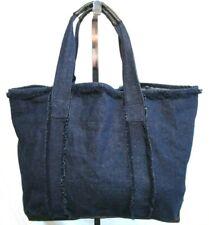 Extra Large Dark Blue Raw Edge Denim Faux Leather Carryall Shoulder Tote Handbag