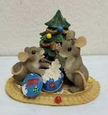 Fitz Floyd Charming Tails Christmas Treasures Mouse Tree Present Gift Decor