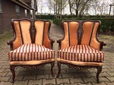 PAIR OF ANTIQUE EASY-CHAIRS IN AMAZING FABRIC.