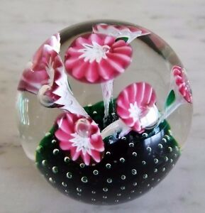 Vintage Pink White Trumpet Flower Controlled Bubble Paperweight