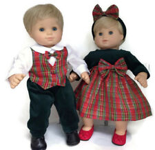Boy & Girl Plaid Holiday Outfits fits 15 inch Bitty Baby & Twin Doll Clothes