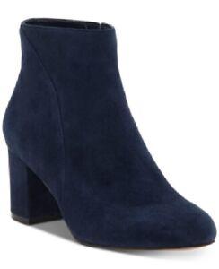 INC International Concepts Women's Floriann Block Heel Booties Navy Size 6.5