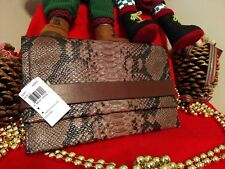 NWT Coach Bleecker Clutch Handbag in Brick & Black Python Embossed Leather 32641