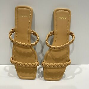 Novo Zecca Slide Sandal Flat - Camel Tan - 9 - Plait Braid