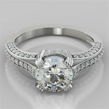 14K Real White Gold Rings Size 5 1.30 Ct Vvs1 Round Cut Diamond Engagement Ring