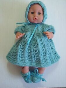 4 pce Duck Egg Hand Knitted Dolls Clothes. 35-37cm 14-15in.