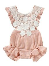 3M & 12M Baby Girl Lace Trimmed Frilled Romper Bodysuit