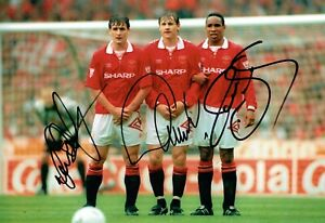 Manchester United Triple Signed Hughes, Kanchelskis & Ince Photo AFTAL/UACC RD