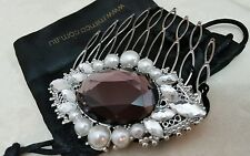 ♡♡♡ MIMCO COMB Jewel Clip FASCINATOR  Embroidered  Crystals Silver Clear BEADED