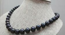 """HUGE 18""""11-12mm natural south sea genuine black perfect round pearl necklace 14k"""
