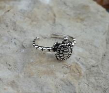 Toe Ring, Adjustable Solid Sterling Silver Turtle Toe Ring, Turtle Jewelry