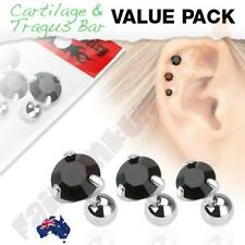 316L Surgical Steel Tragus/Cartilage Stud with Round Black Jewel 3 Piece Pack