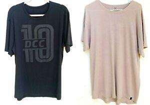 LULULEMON Lot X 2 Men's Cotton Short Sleeve Crew Neck T-Shirts Black/Tan Sz.L-XL