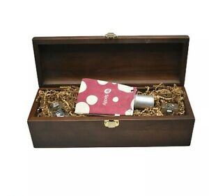 Spotify Music Advertising promotional wooden box with 2 glasses and flask Pink