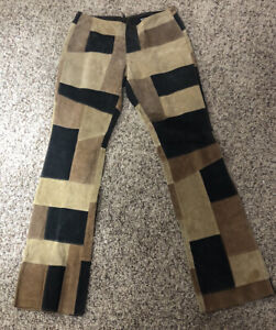 vintage 90's hippy patchwork leather flare pants