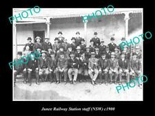 OLD LARGE HISTORIC PHOTO OF JUNEE NSW, JUNEE RAILWAY STATION STAFF c1900