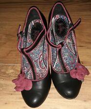 Joe Browns Chaussures en Cuir Noir Taille UK 6 retro vintage
