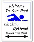 Welcome To Our Pool Clothing Optional Beyond This Point Funny Pool Sign