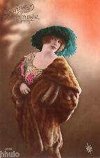 BE200 Carte Photo vintage card RPPC Femme woman mode fashion fourrure chapeau