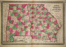 1870 Genuine Antique Hand Colored Map of Georgia & Alabama. Johnson