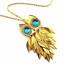 Vintage style movable joint gold leaf owl necklace