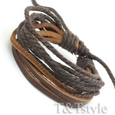 STYLISH T&T BROWN Leather Bracelet Wristband NEW