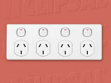 CLIPSAL QUAD POWERPOINT 4 GANG GPO OUTLET POWER POINT SOCKET C2000 FOUR PLATE