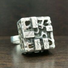 Great Vintage Mid-Century Modernist Finnish Martti Viikinniemi 830 Silver Ring