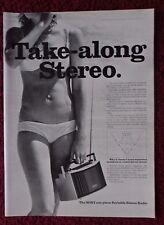1972 Print Ad SONY One-Piece Portable Stereo Radio ~ Sexy Girl White Bikini