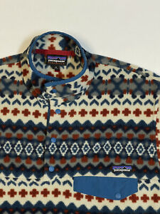Patagonia Mens Synchilla Snap T Cliff Blue Fair Isle Pullover Sweater M