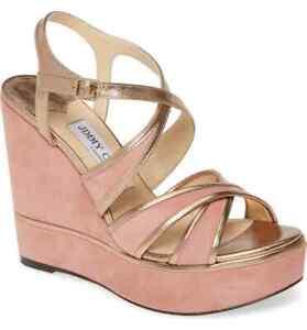 Jimmy Choo Alissa Wedge Sandals Platform Gold Trim Slingbacks Shoes 38