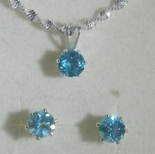 Blue Zircon Gemstone stud Earrings and Necklace Jewelry Set 925 Sterling Silver