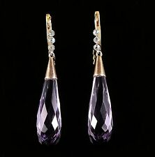 ANTIQUE VICTORIAN AMETHYST DIAMOND LONG EARRINGS CIRCA 1880