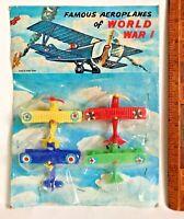 VINTAGE 1970S WORLD WAR 1 AEROPLANE RACK TOYS MIP HONG KONG SOFT PLASTIC NMIP!!!