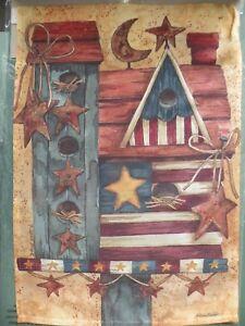 Patriotic Birdhouse Garden Flag 12x17 Two-Sided Evergreen Diane Knott Design NIP