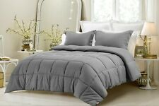 Down Alternative 200 GSM Soft Comforter+Sheet Set King Size Gray Striped