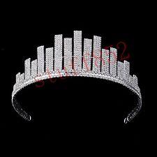 Silver Head Tiaras Crystal Hair Pageant Princess Half Crown Handmade Baroque