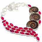 """Ammonite Fossil, Ruby Gemstone Silver Jewelry Necklace 18"""" MQR-2874"""