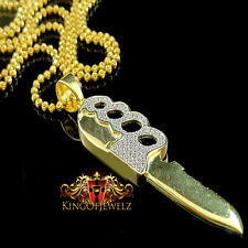 Sterling Silver Mens Knuckle Knife Design Lab Diamond Bling Custom Pendant Chain
