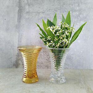 2 Art Deco Australian Depression Glass Crown Crystal Waverly Vases 1930s 10.2cm