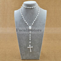 Glow in the Dark green Prayer Beads Rosary Crucifix Necklace Plastic New Hot