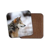 Wild Wolf Dog Animal Fun Gift Cork Backed Drinks Coaster for Tea & Coffee #8104