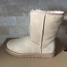 UGG Classic Short 40:40:40 Anniversary Sand Suede Fur Boots Size 12 Womens